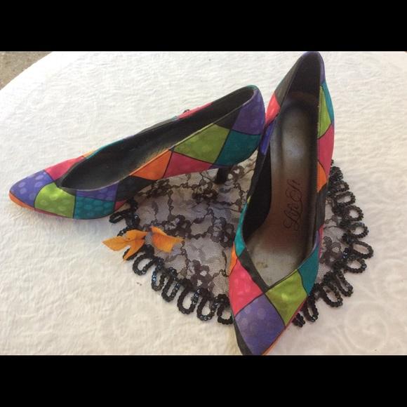 """Vintage Shoes - Vintage HARLEQUIN 3"""" Heels Polka Dot Matte  6.5"""